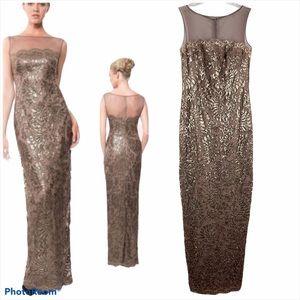 Tadashi Shoji Mesh Illusion Sequin Lace Gown Dress